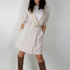HALSTON Heritage Beige Belted Wrap Dress